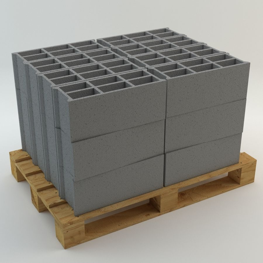 Pallet and Breeze Block royalty-free 3d model - Preview no. 1
