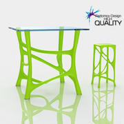 Table bio lime plastic with stool 3d model