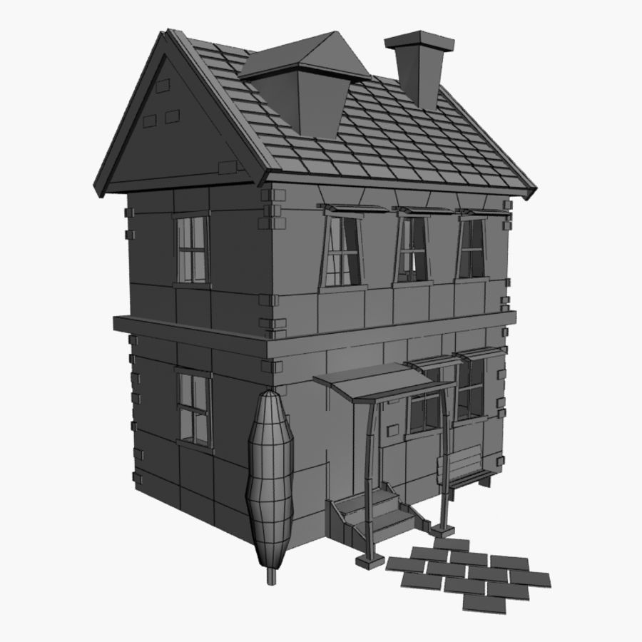 Cartoon House royalty-free 3d model - Preview no. 3