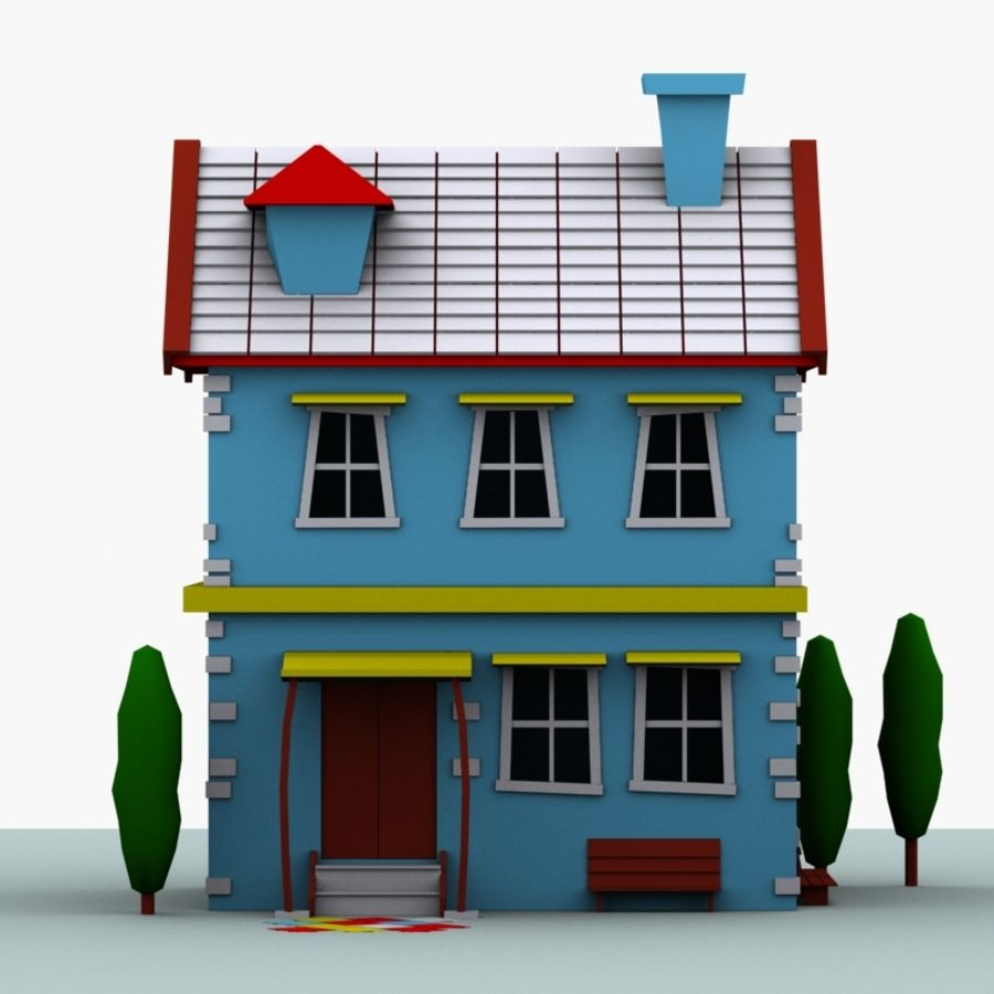 Cartoon House royalty-free 3d model - Preview no. 2
