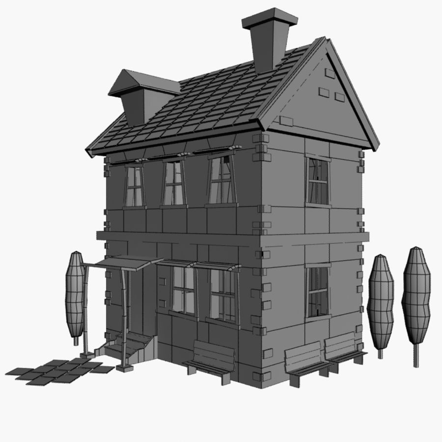 Cartoon House royalty-free 3d model - Preview no. 4