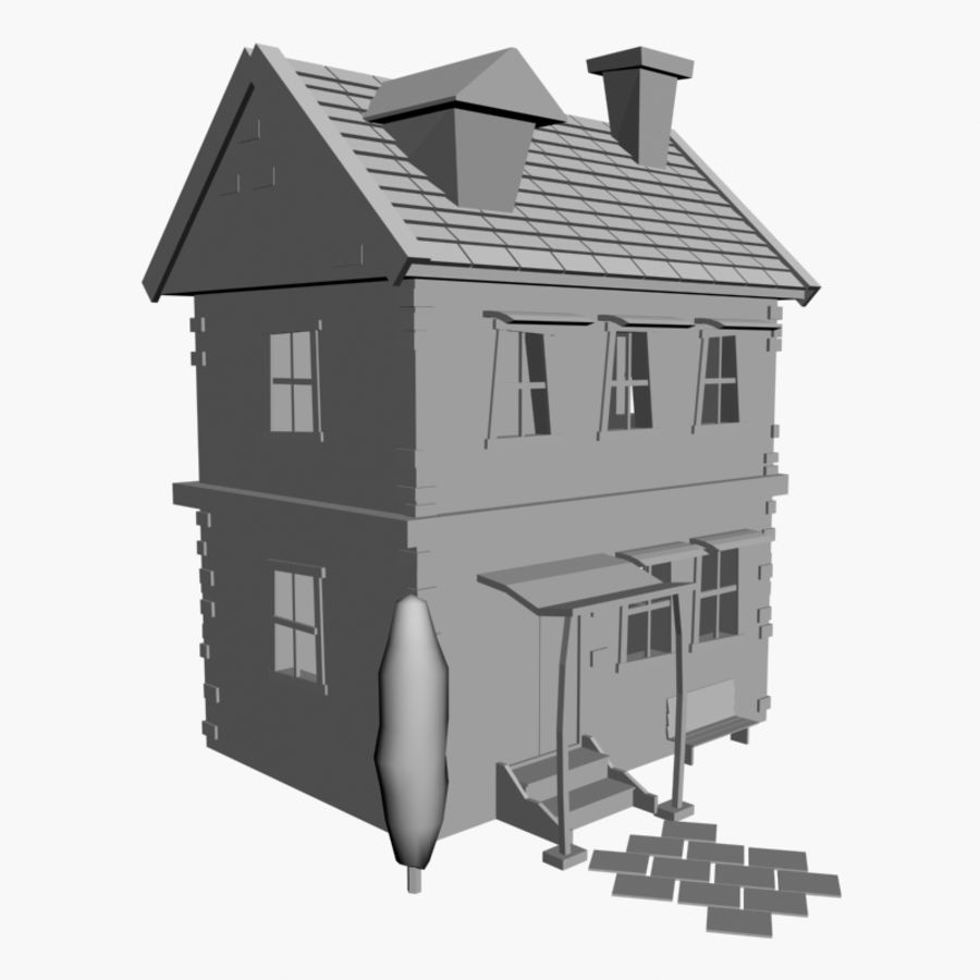 Cartoon House royalty-free 3d model - Preview no. 5