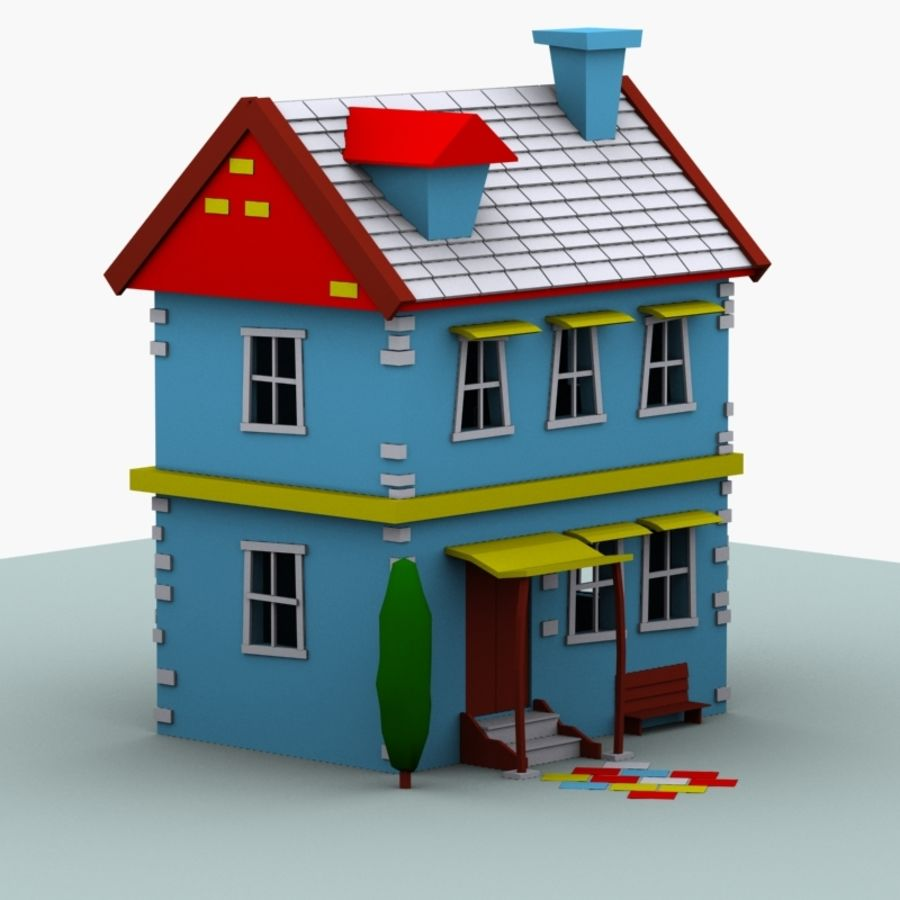 Cartoon House royalty-free 3d model - Preview no. 6