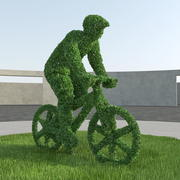 Bicyclist Topiary Sculpture 3d model