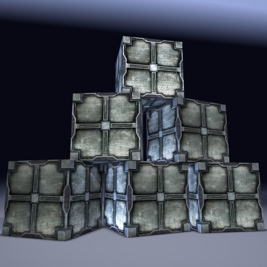 Metal Cargo Box Game Ready! royalty-free 3d model - Preview no. 2