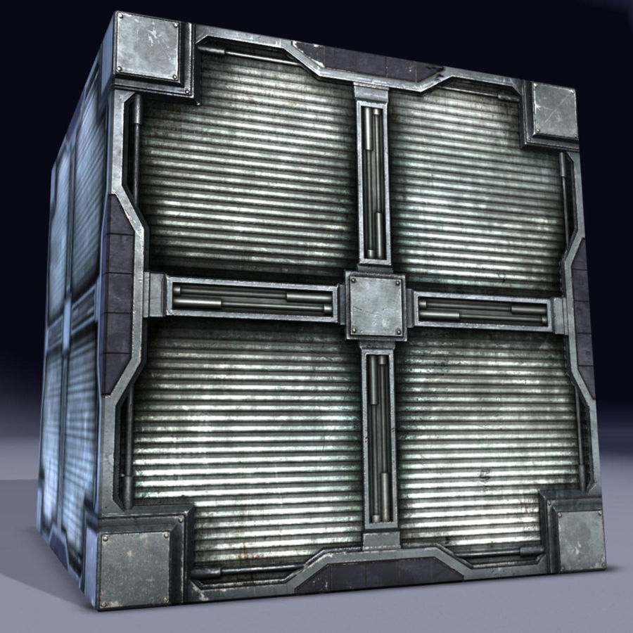 Metal Cargo Box Game Ready! royalty-free 3d model - Preview no. 1
