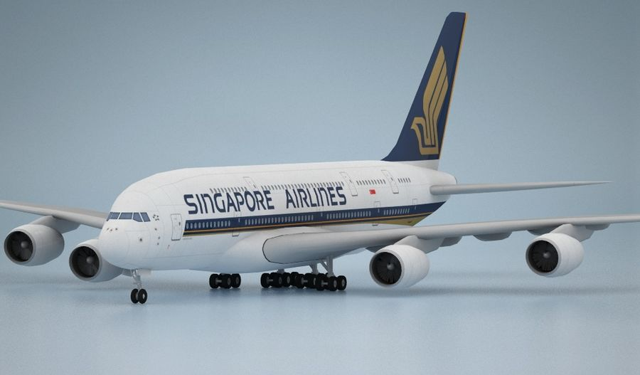 Airbus A380 Singapure Airlines royalty-free 3d model - Preview no. 2