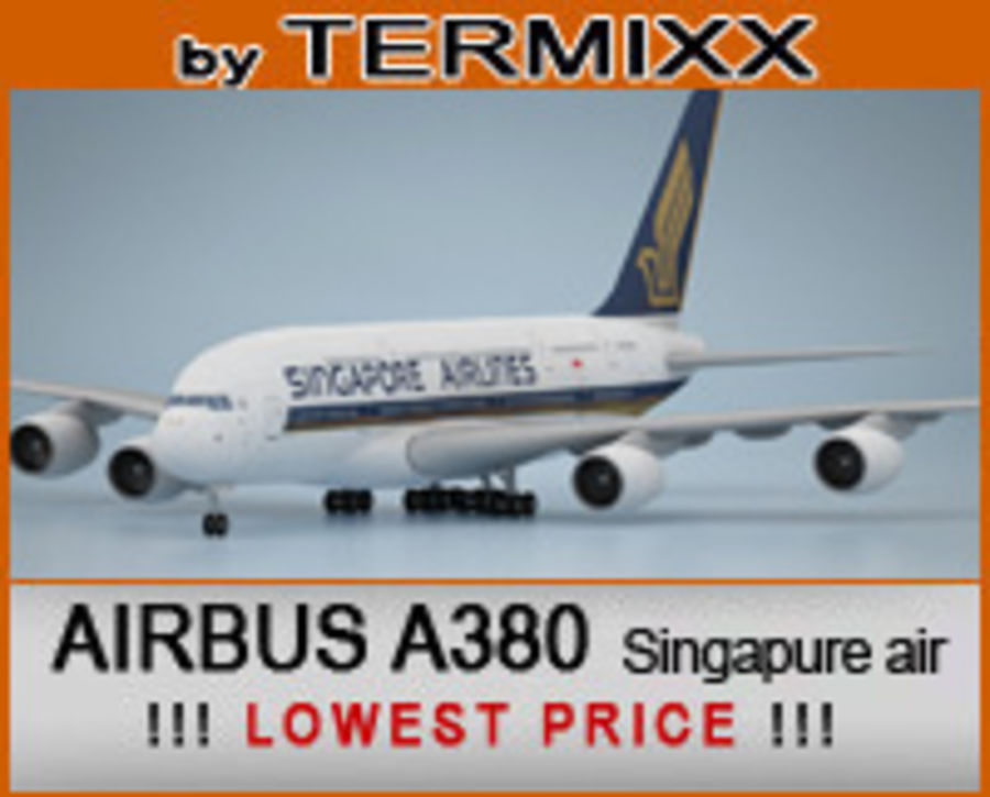 Airbus A380 Singapure Airlines royalty-free 3d model - Preview no. 1