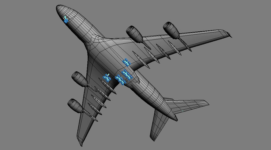 Airbus A380 Singapure Airlines royalty-free 3d model - Preview no. 7