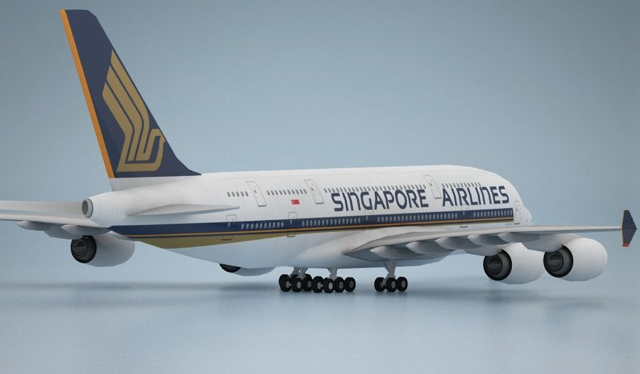 Airbus A380 Singapure Airlines royalty-free 3d model - Preview no. 3