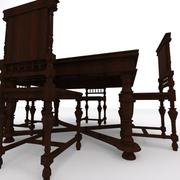 Old table with chairs 3d model