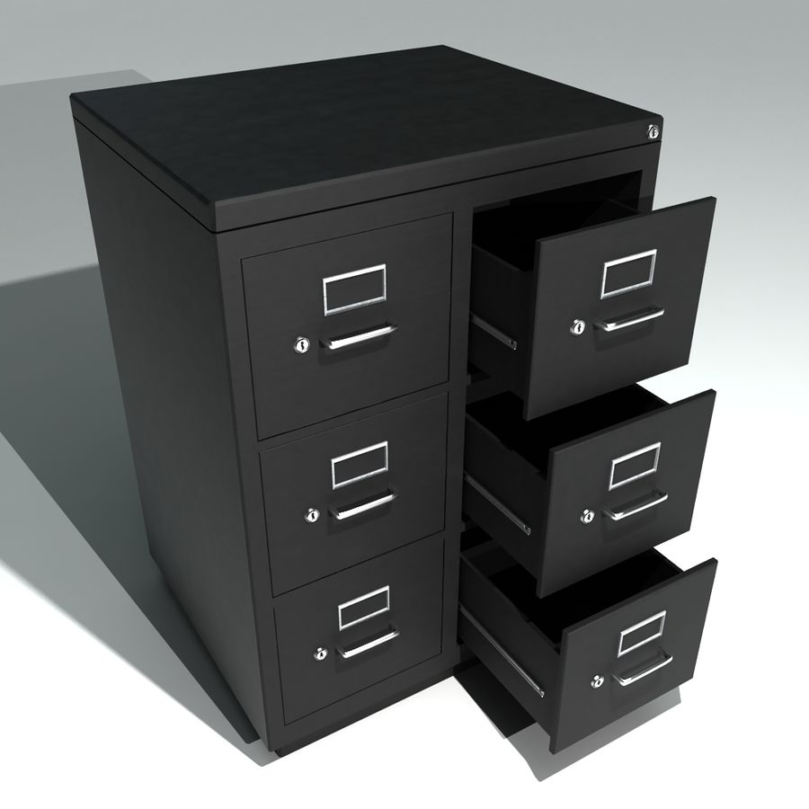 Double Metal Filing Cabinet 3d Model