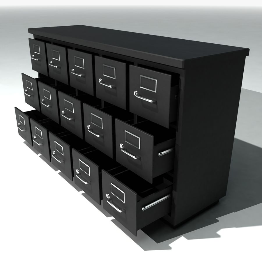 Short Metal Filing Cabinet Royalty Free 3d Model   Preview No. 3