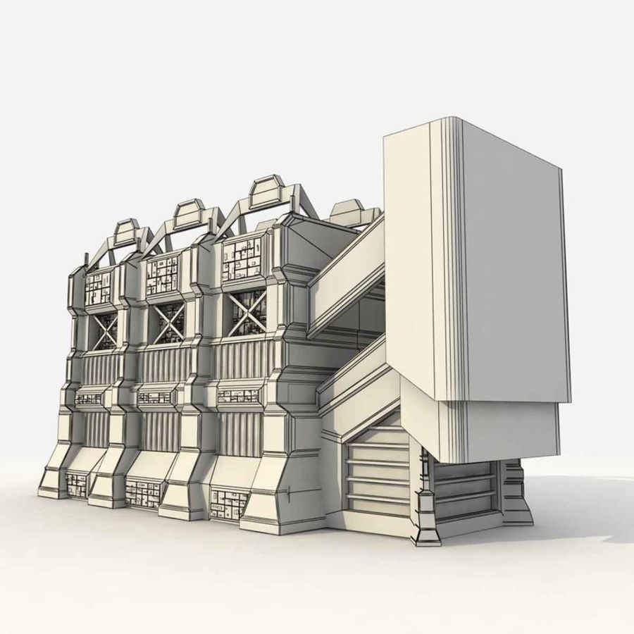 Futuristic Sci Fi Building royalty-free 3d model - Preview no. 9
