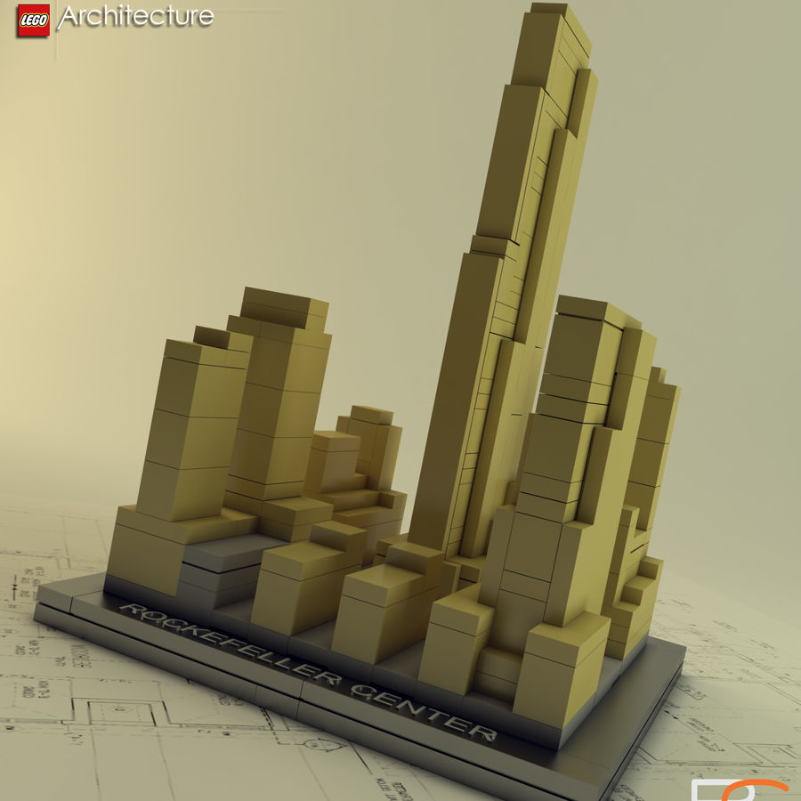 Lego Rockefeller Center royalty-free 3d model - Preview no. 1