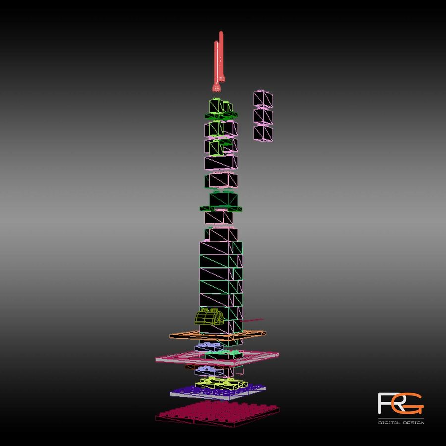Lego Willis Tower royalty-free 3d model - Preview no. 5