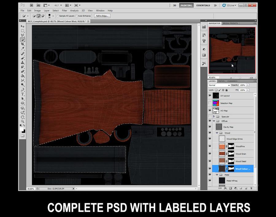M37 Ithaca Shotgun royalty-free 3d model - Preview no. 6