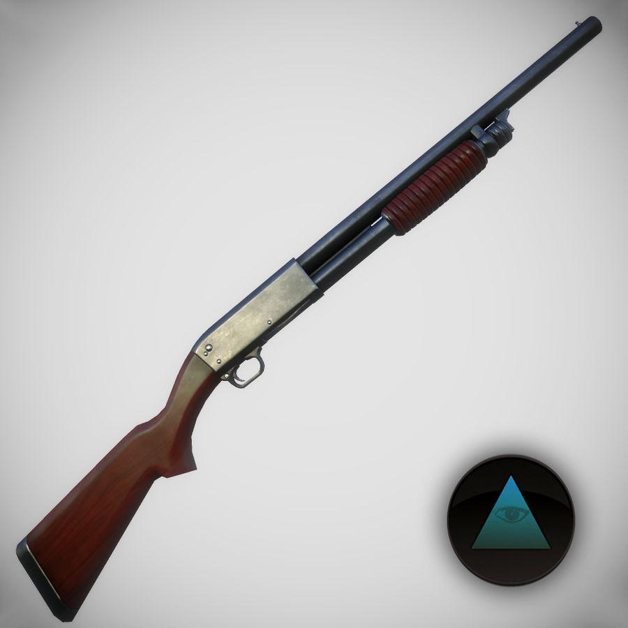 M37 Ithaca Shotgun royalty-free 3d model - Preview no. 1