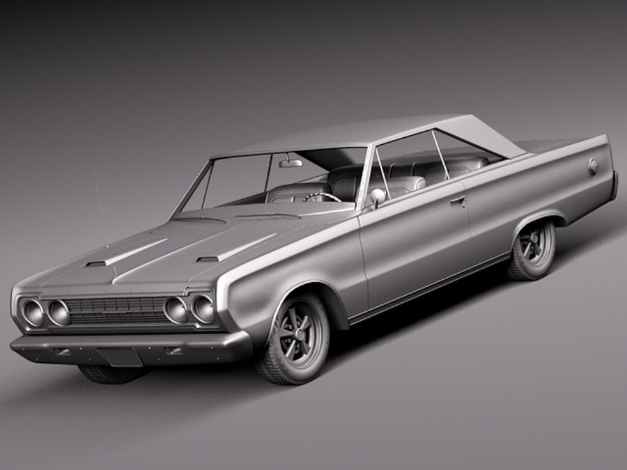 Plymouth GTX 1967 royalty-free 3d model - Preview no. 12