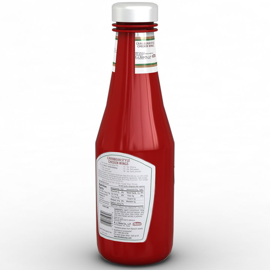 Ketçap Şişesi Heinz royalty-free 3d model - Preview no. 5