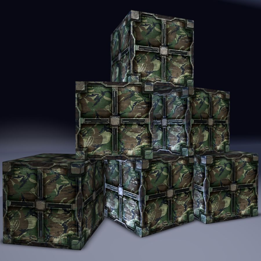 Military cargo metal box. Game Ready! royalty-free 3d model - Preview no. 8