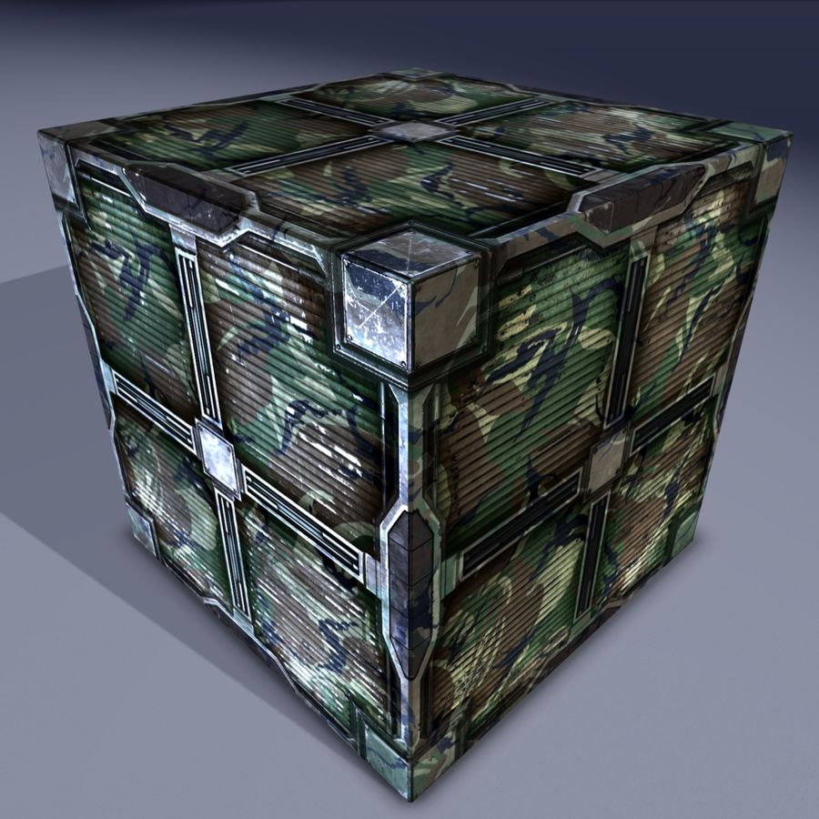 Military cargo metal box. Game Ready! royalty-free 3d model - Preview no. 1