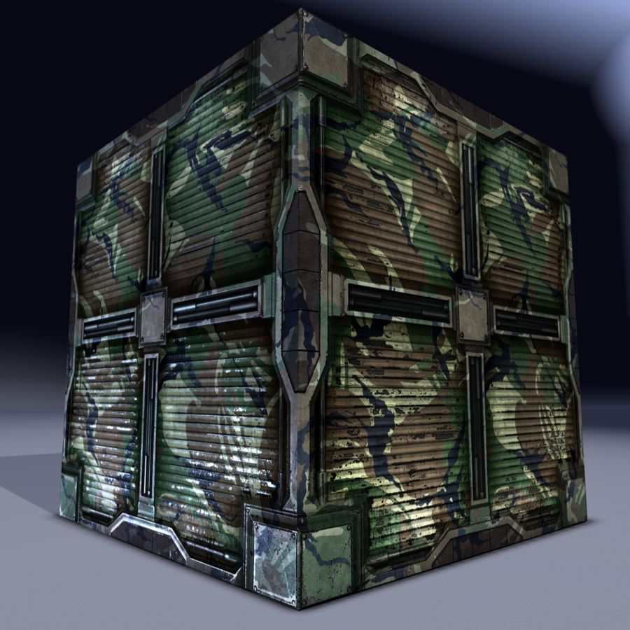 Military cargo metal box. Game Ready! royalty-free 3d model - Preview no. 7