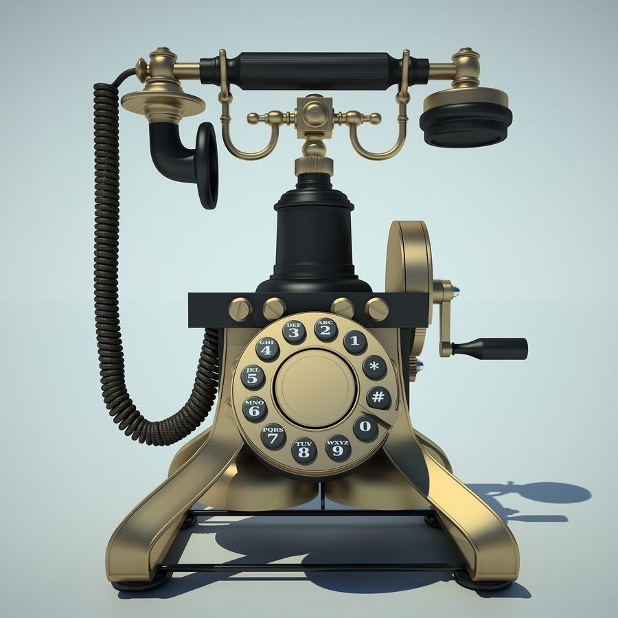 Retro Phone 01 royalty-free 3d model - Preview no. 4