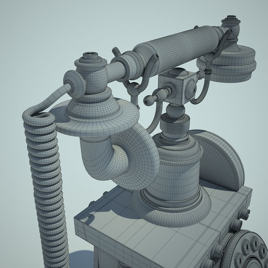 Retro Phone 01 royalty-free 3d model - Preview no. 14