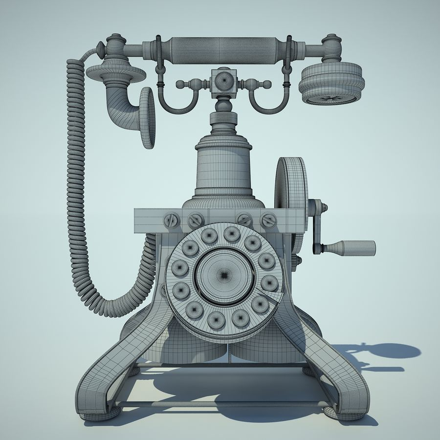 Retro Phone 01 royalty-free 3d model - Preview no. 5