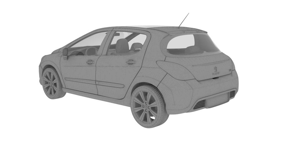Peugeot 308 royalty-free 3d model - Preview no. 4