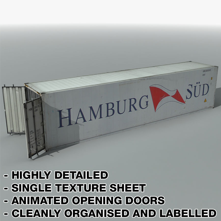 Rigged Shipping Container royalty-free 3d model - Preview no. 4