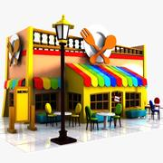 Cartoon Restaurant 2 3d model