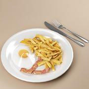 food_01(ソーセージとフライドポテト) 3d model