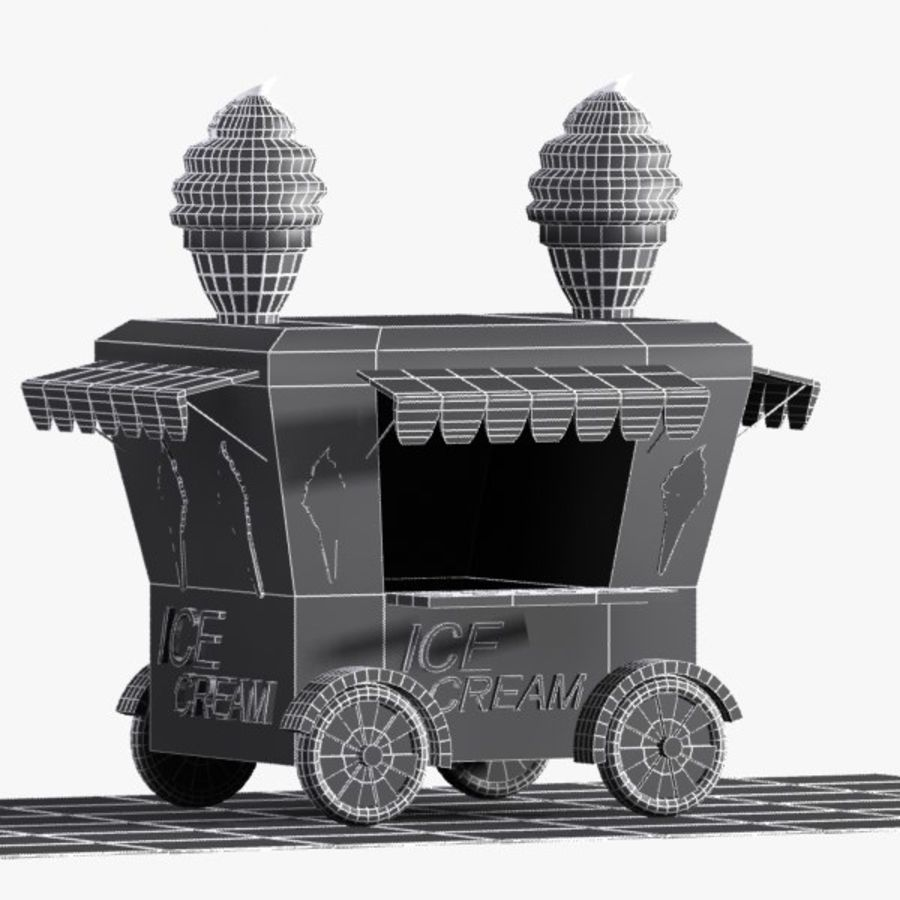 Cartoon Ice Cream Cart royalty-free 3d model - Preview no. 8