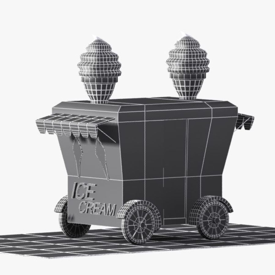 Cartoon Ice Cream Cart royalty-free 3d model - Preview no. 11
