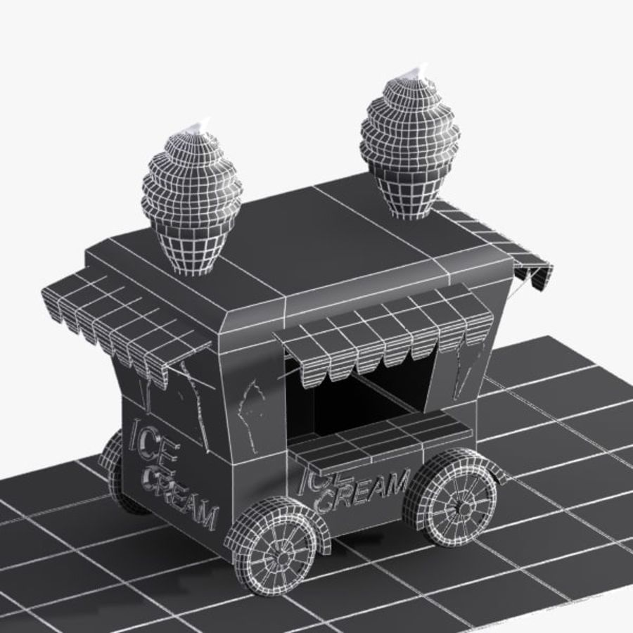 Cartoon Ice Cream Cart royalty-free 3d model - Preview no. 9
