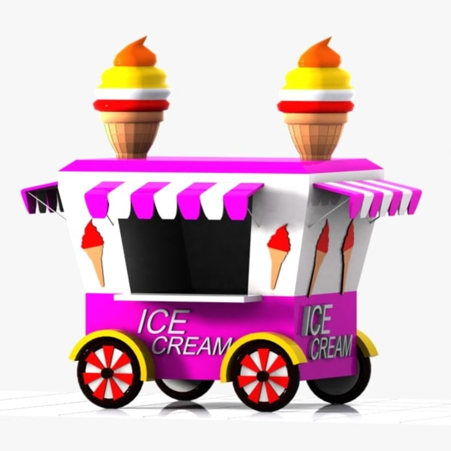 Cartoon Ice Cream Cart royalty-free 3d model - Preview no. 4