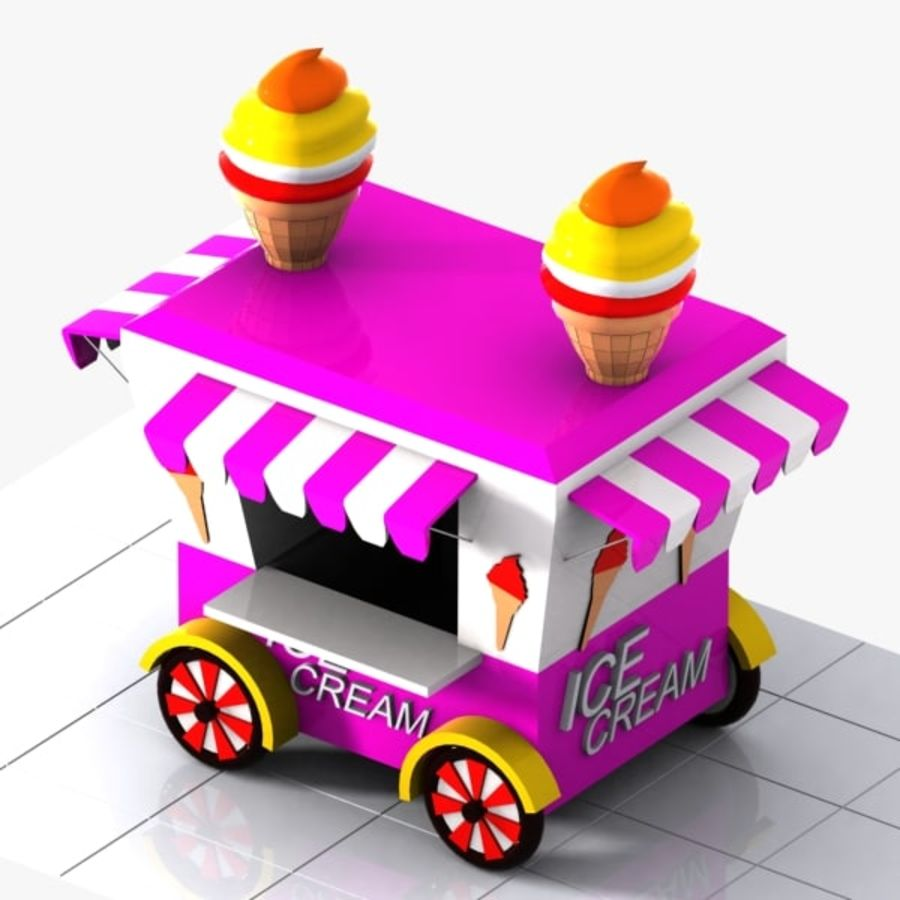 Cartoon Ice Cream Cart royalty-free 3d model - Preview no. 5