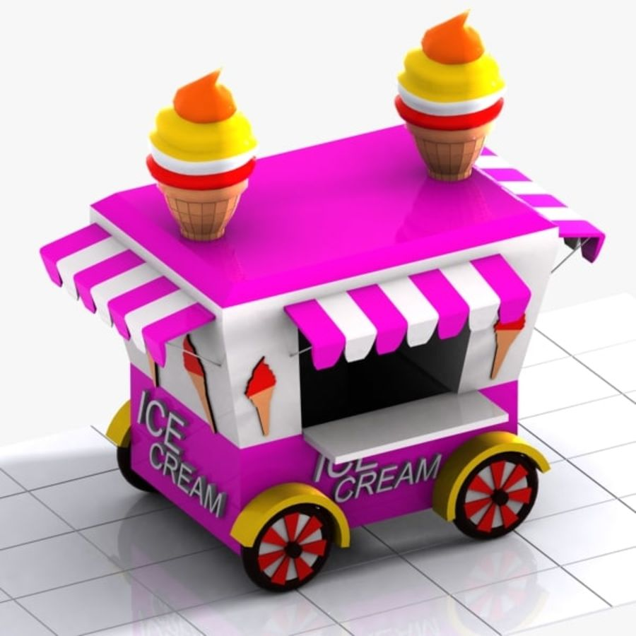 Cartoon Ice Cream Cart royalty-free 3d model - Preview no. 3