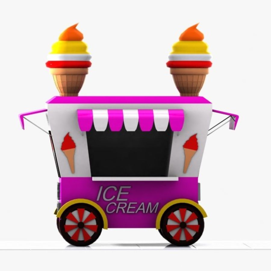Cartoon Ice Cream Cart royalty-free 3d model - Preview no. 7