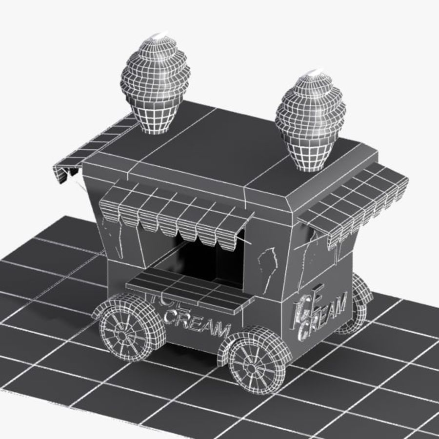 Cartoon Ice Cream Cart royalty-free 3d model - Preview no. 12