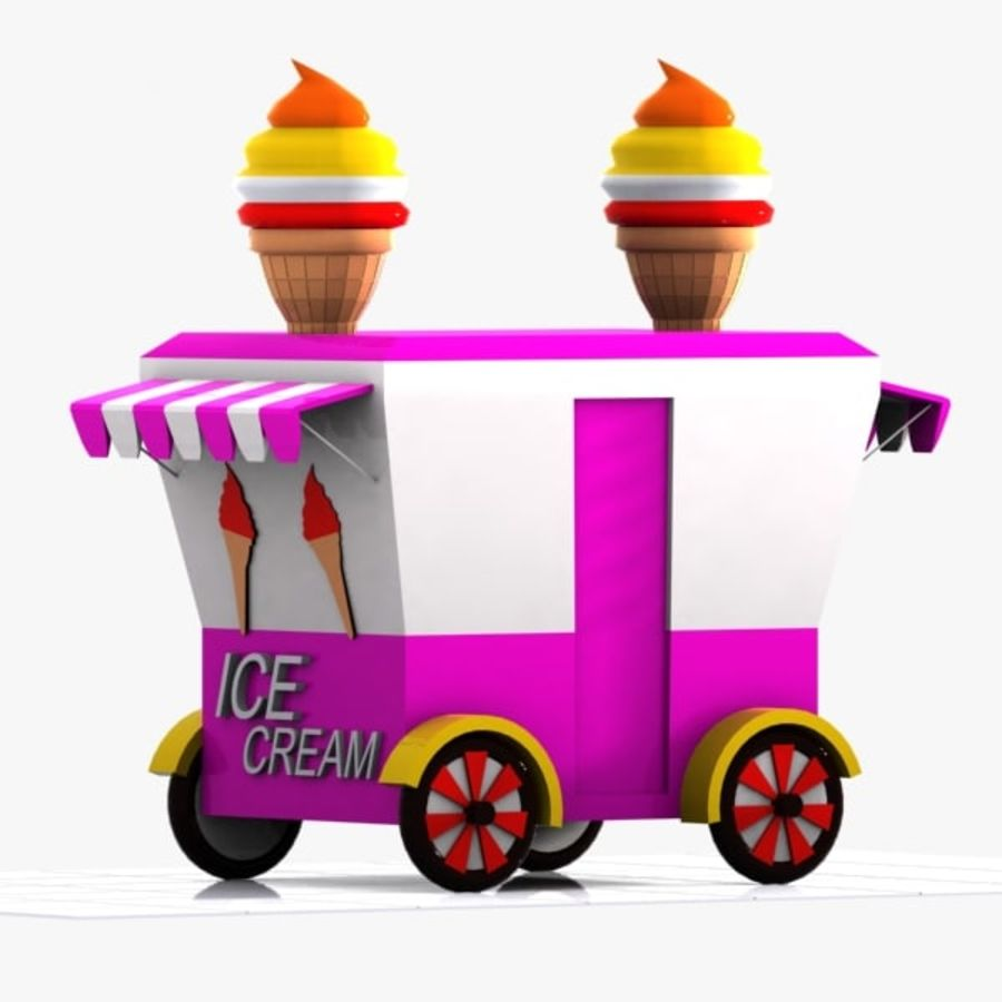 Cartoon Ice Cream Cart royalty-free 3d model - Preview no. 6