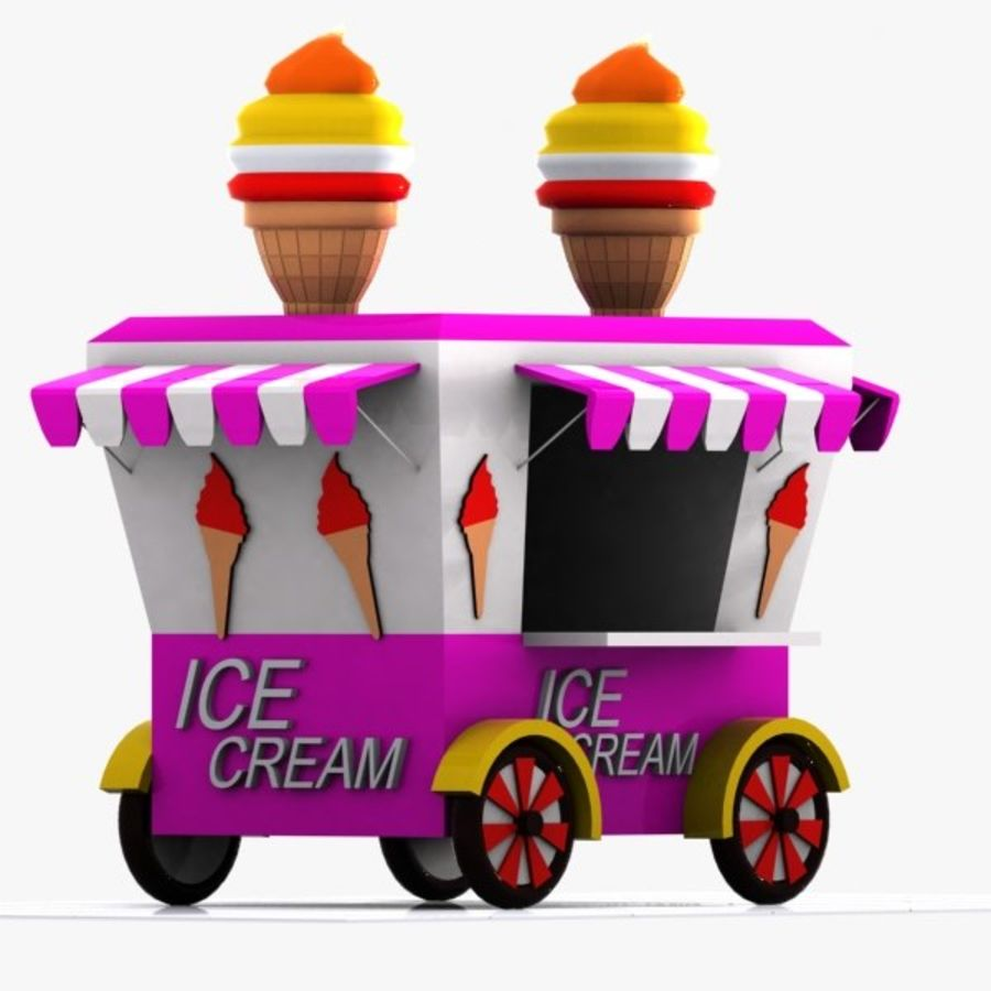 Cartoon Ice Cream Cart royalty-free 3d model - Preview no. 1