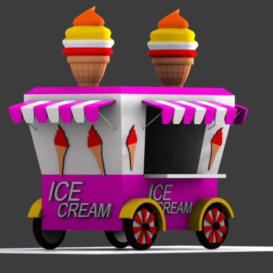 Cartoon Ice Cream Cart royalty-free 3d model - Preview no. 2