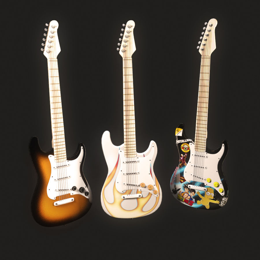 Guitars royalty-free 3d model - Preview no. 2