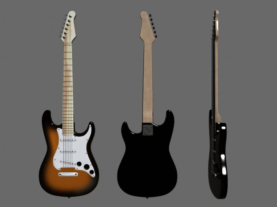 Guitars royalty-free 3d model - Preview no. 5