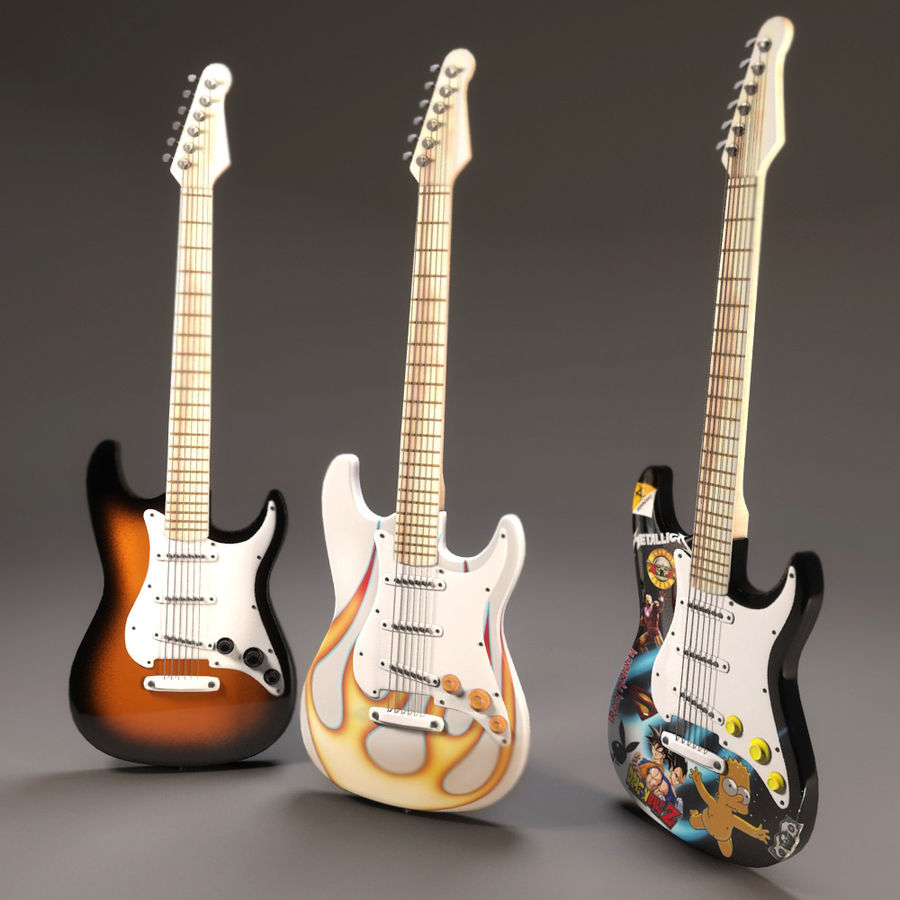 Guitars royalty-free 3d model - Preview no. 3