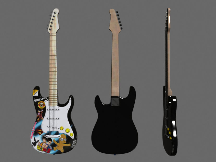 Guitars royalty-free 3d model - Preview no. 6