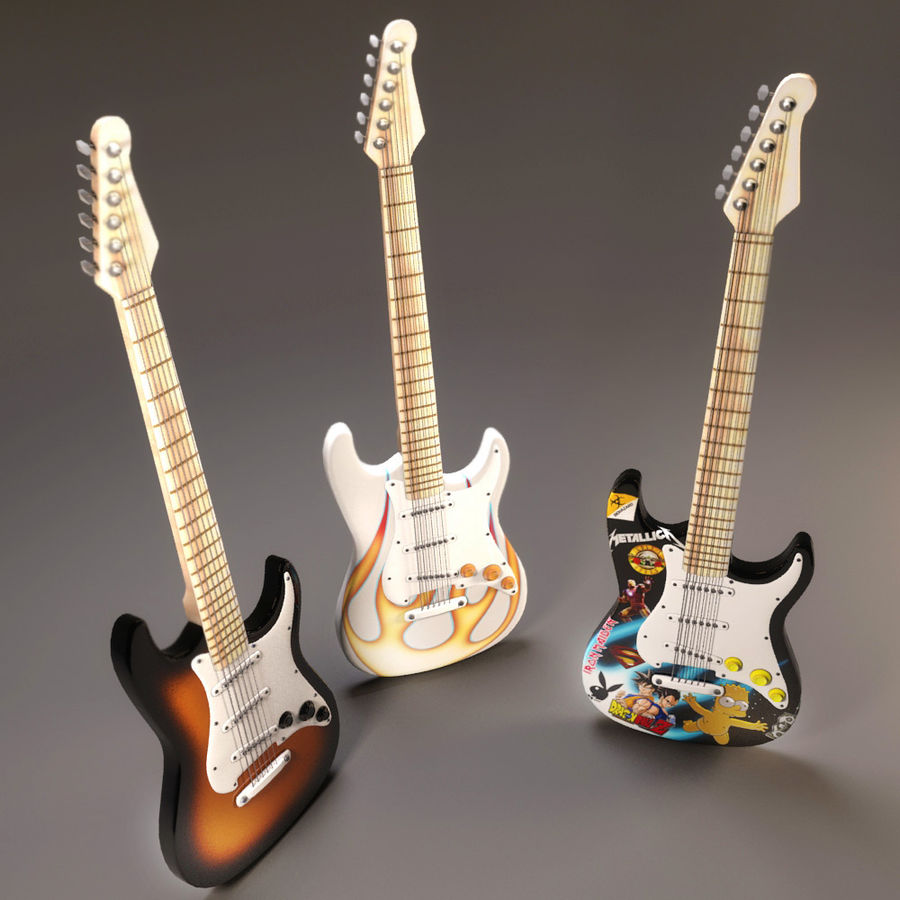 Guitars royalty-free 3d model - Preview no. 4